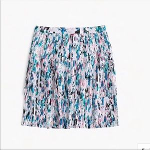 J Crew Two-Tiered Pleated Skirt Watercolor Floral